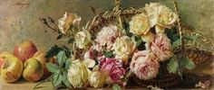 a basket of roses with apples by Barzanti