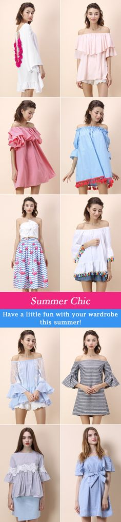 Summer Chic tops and dresses. Have a little fun with your wardrobe this summer! http://fancytemplestore.com