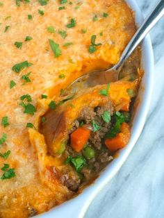 Shepherd's Pie with Whipped Sweet Potatoes - A great comfort food recipe that's easy to make!