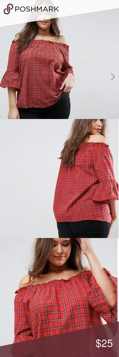 Plus Size Red Checker Bardot Top Never been worn ASOS top in a size 16. Adorable on, perfect for fall! ASOS Curve Tops Blouses