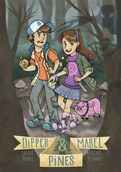Supernatural Poster Print Mabel and Dipper by UnicornEmpirePrints