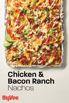 PLUS, you can make this crowd favorite all on one sheet pan. Pro tip: For game days, it's never a bad idea to have a second batch on deck. Appetizer Recipes, Snack Recipes, Dinner Recipes, Cooking Recipes, Healthy Recipes, Chicken Bacon Ranch, Chicken Nachos, Easy Casserole Recipes, Mexican Food Recipes