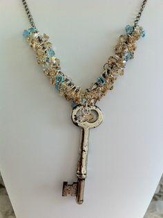 Skeleton Key Necklace (Golden Shadow & Aquamarine). $58.00, via @Etsy.