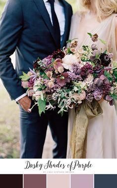 Dusky Shades of Purple Fall Wedding Colour Palette    Wedding Colours    Purple Bridal Bouquet