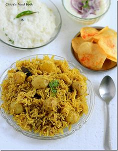 Chitra's Food Book: Chettinad Baby Potato Biryani Recipe-Sunday Lunch ...