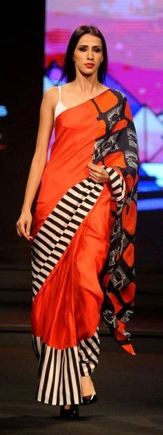 Pinterest @Littlehub  || Six yard- The Saree ❤•。*゚||  masaba gupta saree