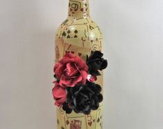 Wine Bottle Home Decor w/Hand-crafted Paper by FlowerDesignsbyRuth