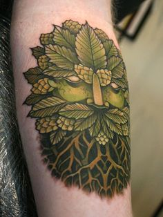 Old man nature leaves face on the arm | Sneaky Mitch Allenden, co-owner of Dock Street Tattoos in Leeds UK