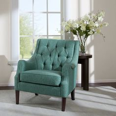 Cozy up to our stylish collection of accent chairs and arm chairs. Kick back and relax in an accent chair or slipper chairs for your living room or bedroom. Furniture, Tufted Accent Chair, Living Room Furniture, Living Room Chairs, Ashley Furniture, Upholstered Seating, Chair, Tufted Chair, Teal Accent Chair