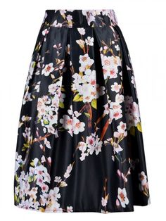 Black Floral Print Skater Skirt $15 http://rstyle.me/n/vimmw6qvw