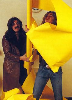 http://custard-pie.com/ Bonzo & Percy, and the infamous yellow papered promo poster backstage :)