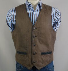 Men Soft Leather Waistcoat  Petroff Size M 40-41 Brown Vintage Unlimited