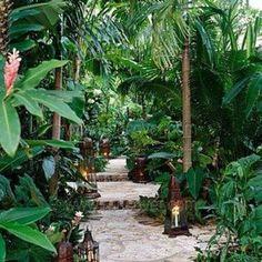 Tropical Garden Designs With Walkway , Exotic Tropical Garden Designs In Garden And Lawn Category