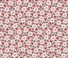 Baby fox fall pattern cute tossed woodland design for fall and winter pink coral fabric - surface design by Little Smilemakers on Spoonflower - custom fabric and wallpaper inspiration for kids clothes fun fashion and trendy home decorations.