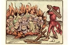 A woodcut by Michael Wolgemut (1434–1519) depicting Jews accused of being heretics dying at the stake – AKG Images