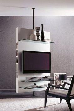 Meuble de télévision contemporain / pivotant / en bois - MEDIACENTER by T.Colzani - Porada