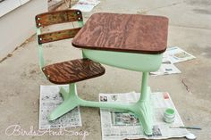 vintage school desk redo - Google Search