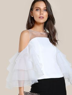 SHEIN Contrast Mesh Cut Out Layered Ruffle Sleeve Top White Three Quarter Length Sleeve Zipper Back Slim Womens Tops and Blouses Blouse Volantée, Blouse Sexy, Collar Blouse, Ruffle Top, Ruffle Sleeve, Ruffle Collar, Ruffle Blouse, Plain Tops, Cold Shoulder Blouse