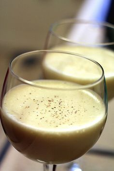 A Tom and Jerry cocktail is similar to eggnog in both its taste and its association with the holidays. The main difference is that it's served hot instead of cold, which enhances the bold flavors of the spice blend and the Jamaican rum in Epicurious.com's recipe.