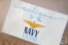Custom Wedding Dress Label ~ Welcome to the Navy Custom Wedding Dress, Wedding Dresses, Custom Embroidery, Bridal Accessories, No Frills, Applique, Label, Trending Outfits, Unique Jewelry