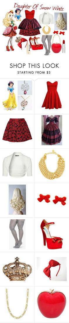 """Descendants~Apple White"" by liialuvs ❤ liked on Polyvore featuring Alice + Olivia, Jane Norman, Ben-Amun, Betsey Johnson, WALL, Fremada, RED Valentino and Clarins"