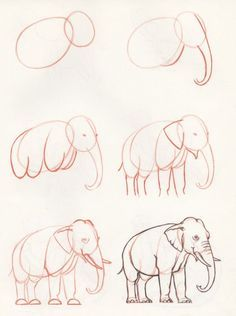 How to draw an elephant - Tiere Malen Elefant - Drawing Lessons, Drawing Poses, Drawing Techniques, Painting & Drawing, Drawing Ideas, Drawing Drawing, Deer Drawing, Painting Tips, Pencil Art Drawings