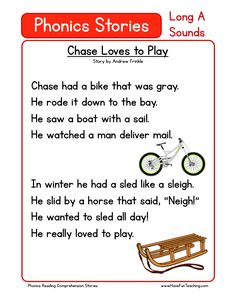 This Reading Comprehension Worksheet - Chase Loves to Play is for teaching reading comprehension. Use this reading comprehension story to teach reading comprehension. Phonics Reading, Reading Comprehension Worksheets, Teaching Phonics, Reading Passages, Kindergarten Reading, Kindergarten Worksheets, Teaching Reading, Preschool Kindergarten, English Phonics