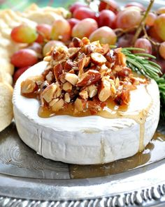 Honey Almond Baked Brie is salty, sweet, creamy, and crunchy.