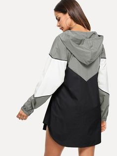 Letter Embroidered Hooded Dress -ROMWE In the last 30 years, the evolution of fashion has Fashion Wear, Cute Fashion, Girl Fashion, Fashion Outfits, Active Wear For Women, Suits For Women, Raincoat Outfit, Merian, Relaxed Outfit