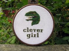 Clever girl cross stitch Jurassic Park by strangefrontier on Etsy