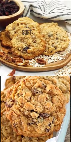 Soft and Chewy Oatmeal Raisin Pecan Cookies - your whole family will love these . - Soft and Chewy Oatmeal Raisin Pecan Cookies – your whole family will love these delicious soft an - Cookie Desserts, Just Desserts, Delicious Desserts, Dessert Recipes, Yummy Snacks, Quick Dessert, Raisin Cookie Recipe, Chocolate Chip Cookies, Brownie Cookies