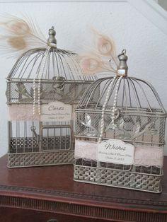 Wedding Card Holder Birdcage Set with Lace Pearls / Wedding Cardholder Bird Cages / Wishes / Wedding Birdcage Set