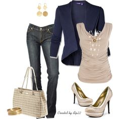 Beige and Navy Blue, created by dlp22 on Polyvore