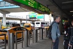 Outside of La Guardia Airport waiting for cabs to take me to NYC