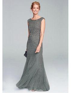 fb8e59e5cfbb6 Sparkling Tulle   Satin Scoop Neckline Sheath Mother of the Bride Dresses  With Beads. Robe Mère ...