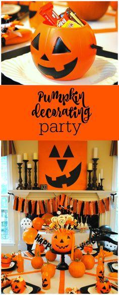 Pumpkin decorating party by The Party Teacher Halloween House, Holidays Halloween, Halloween Kids, Halloween Party, Baby Shower Parties, Baby Boy Shower, Teacher Party, I Party, Party Ideas