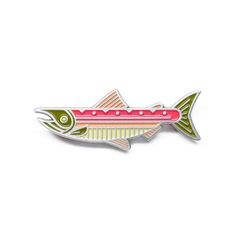Rising Salmon Fish Pin Badge Ideal Gift for Fly Fishing fans NEW