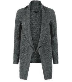 Grey Leather-Look Panel Sleeve Exposed Zip Cardigan
