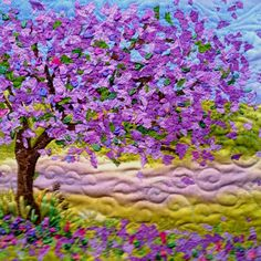 Jacaranda tree quilted wall hanging - this was on display at a craft fair in Brisbane last year Shared by www.nwquiltingexpo.com @nwquiltingexpo #nwqe #quilt