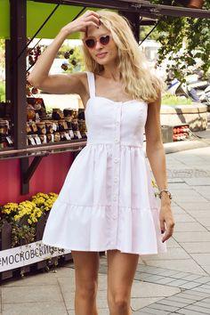 Сарафан из структурного хлопка с воланом светло-розового цвета | T-Skirt | Женская одежда