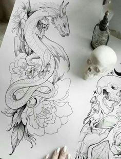 Tattoo dragon drawing ink 68 ideas for 2019 drawing tattoo tattooideas smalltattoos # Body Art Tattoos, New Tattoos, Tatoos, Tattoo Ink, Animal Drawings, Art Drawings, Drawings Of Dragons, Cool Tattoo Drawings, Dragon Tattoo Designs