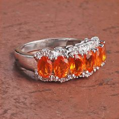 Lovely Mexican Fire Opal, White Topaz 925 Sterling Silver Ring Jewelry - Orange Gemstone Ring - Faceted Oval Ring - Best Gift for her