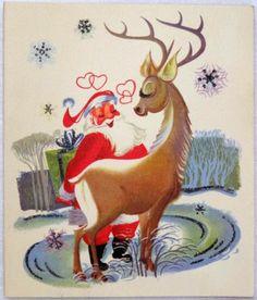 #1349 50s Glittered Mid Century Santa & Deer- Vintage Christmas Greeting Card