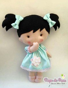 Fabric Doll Handmade Doll Rag Doll Cloth Doll by SewManyPretties Felt Doll Patterns, Stuffed Toys Patterns, Felt Fabric, Fabric Dolls, Felt Baby, Sewing Dolls, Felt Toys, Soft Dolls, Felt Ornaments