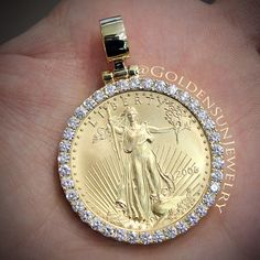 GOLDEN SUN JEWELRY: New style coin pendant. 1oz. Gold Lady Liberty coin set in a solid cut prong bezel. Please call for pricing. @goldensunjewelry #goldensunjewelry #coin #libertycoin #pendant #coinpendant #currency #bullion #ounce #1oz #gold #chain #russiancut #diamondcoin #flawless #fashion #fashionista #hiphop #wshh #bling #jewelry #jeweler #niketalk #swag #nyc #miami #detroit #chain #customking #kilogang #kilo