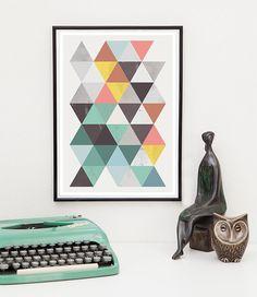 Dreiecke zu drucken abstrakten Kunst geometrische Mitte von handz