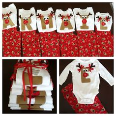 Christmas Pajama Set, Snowflake, Reindeer, Striped Flannel Pants, Rudolph Applique Initial Shirt, Personalized, Girls Boys Baby Toddler Kids...