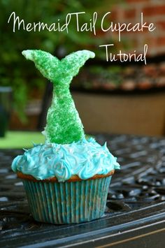 Mermaid Tail Cupcakes Tutorial. I didn't find any instructions but seem easy enough. Do swedish fish come in green?