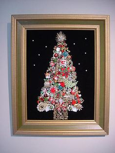 Framed Jewelry Christmas Theme Tree Vintage