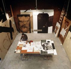 "Antoni Tapies studio. One of his studios (probably this one) had two floors. Each day when he finished working he used to walk up the stairs to the second floor, and see ""whith perspective"" all the artwork made that day. It seems that this process helped him decide what creations where valid, and which ones nop."